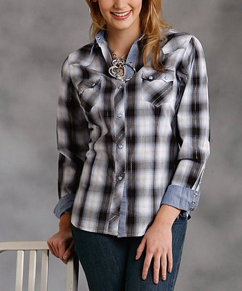 Blue & Silver Plaid Button-Up - Women & Plus