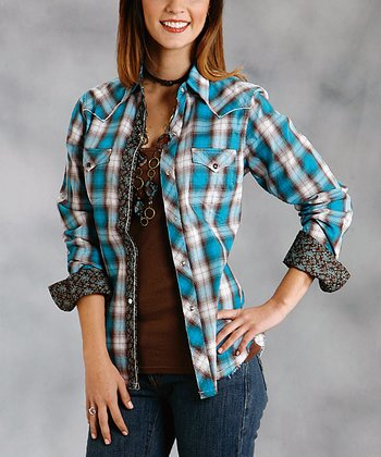 Brown & Blue Plaid Plus-Size Button-Up