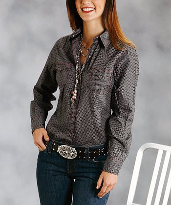 Black Plus-Size Button-Up