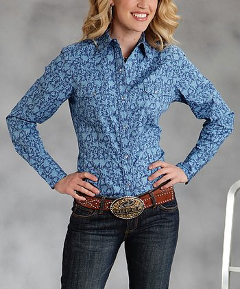 Blue Floral Plus-Size Button-Up