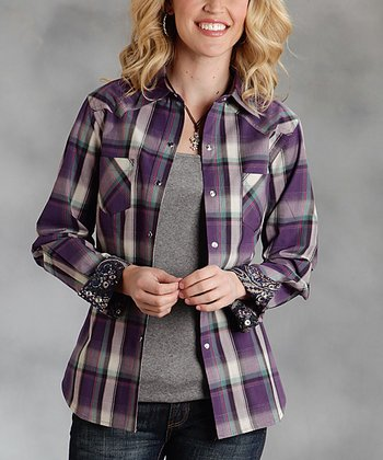 Purple Plaid Plus-Size Button-Up