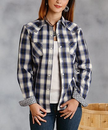 Blue & White Plaid Button-Up - Women & Plus