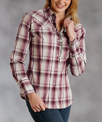 Red Plaid Plus-Size Button-Up