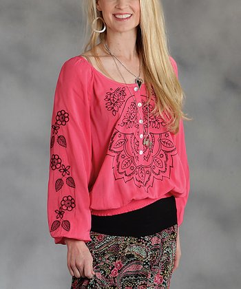 Pink Shirred Button-Front Plus-Size Top