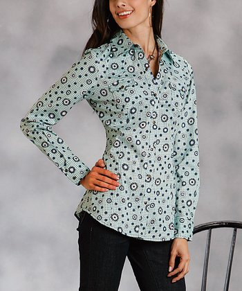 Blue Poplin Floral Plus-Size Button-Up