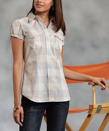 Orange Plaid Plus-Size Button-Up
