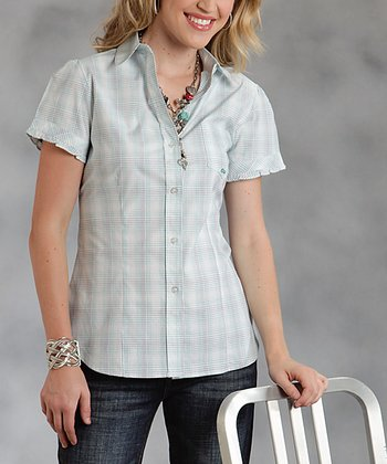Gray Plaid Plus-Size Button-Up