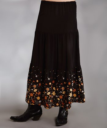 Black Floral Plus-Size Skirt