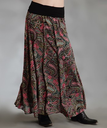 Black Paisley Plus-Size Maxi Skirt