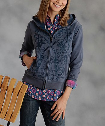 Blue Embroidered Plus-Size Hoodie