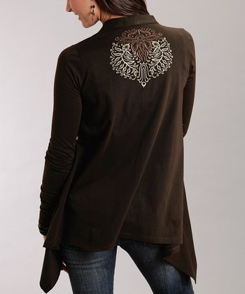 Brown Embroidered Plus-Size Open Cardigan
