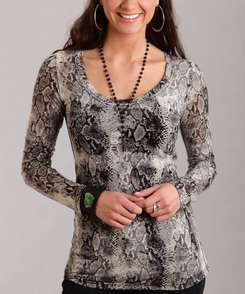 Gray Snakeskin Plus-Size Scoop Neck Top