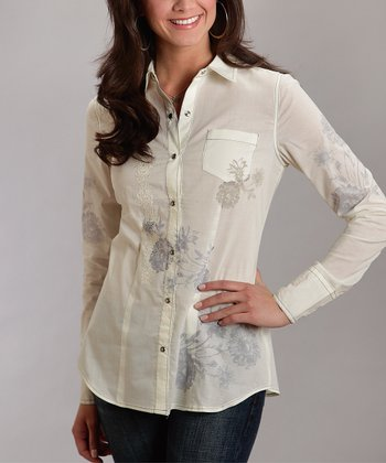 White Embroidered Floral Plus-Size Button-Up