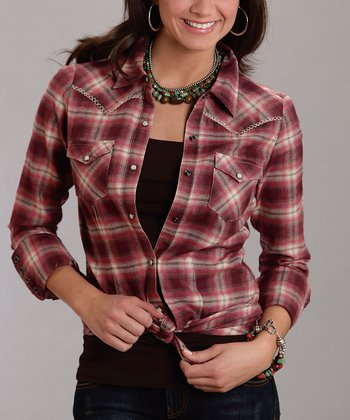 Red Plaid Cross-Stitch Plus-Size Button-Up
