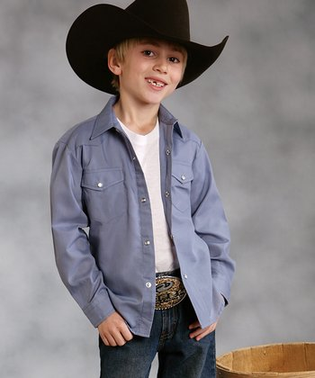 Gray Western Button-Up - Boys