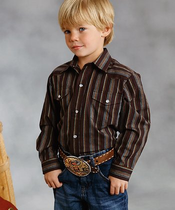 Brown Stripe Button-Up - Boys