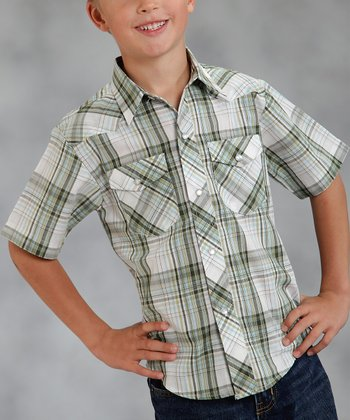 Green Loden Plaid Short-Sleeve Button-Up - Boys
