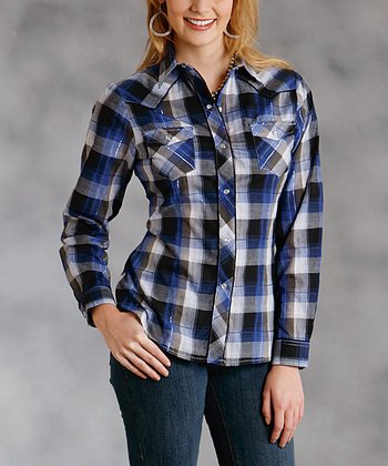 Blue & Black Plaid Button-Up - Women & Plus