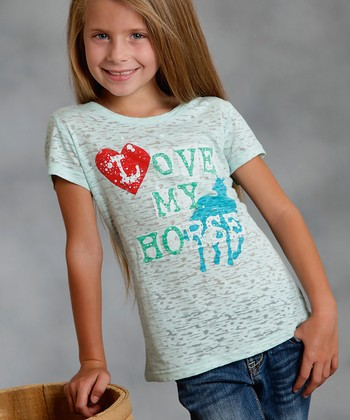 White & Green 'Love My Horse' Tee - Girls