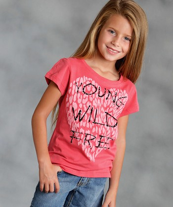 Coral 'Young Wild Free' Heart Tee - Girls