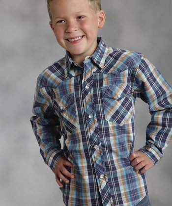 Blue Quarry Plaid Performance Button-Up - Boys