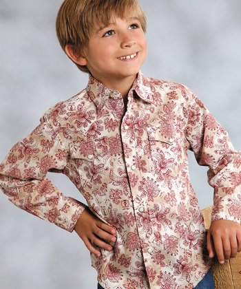Rose & Cream Floral Button-Up - Boys