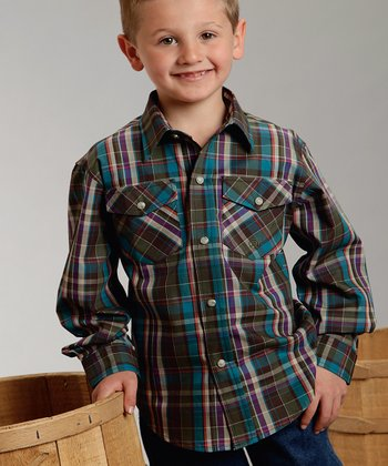 Brown Plaid Button-Up - Boys