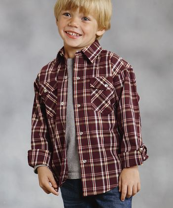 Aubergine Plaid	Amarillo Button-Up - Boys