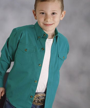 Teal Amarillo Western Button-Up - Boys