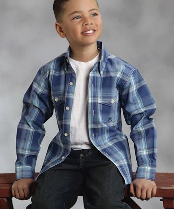 Indigo Plaid Amarillo Button-Up - Boys