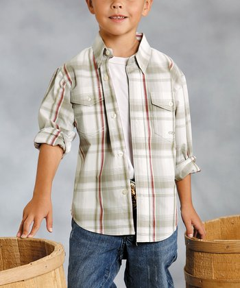 Tan Sundown Plaid Button-Up - Boys