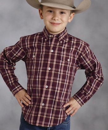 Purple Plaid Amarillo Button-Up - Boys