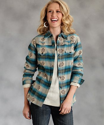 Blue Ombré Plaid Button-Up - Women & Plus