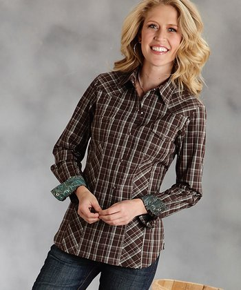 Brown Plaid Button-Up - Women