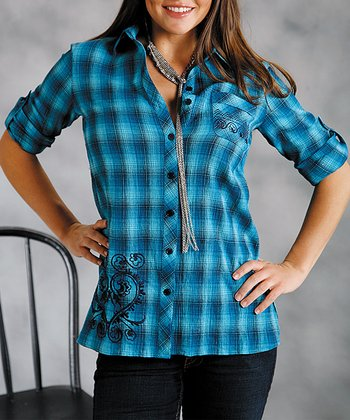 Blue Plaid Tab Sleeve Button-Up - Women