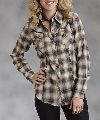 Black & White Plaid Snap Top - Women