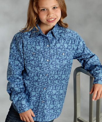 Blue Abstract Button-Up - Girls