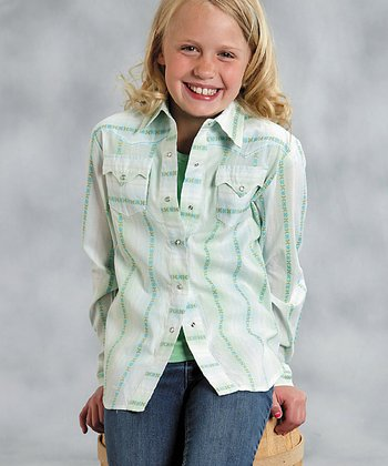 Green & White Stripe Button-Up - Girls