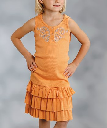 Tangerine Tier Ruffle Skirt - Girls