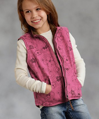 Pink Floral Zip-Up Vest - Girls