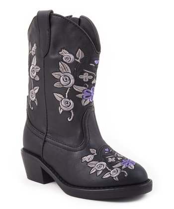 Black Floral Snip-Toe Cowboy Boot