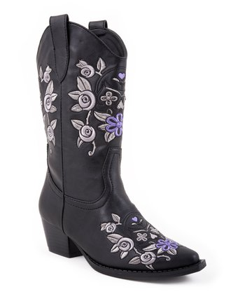 Black Floral Narrow-Toe Cowboy Boot - Kids