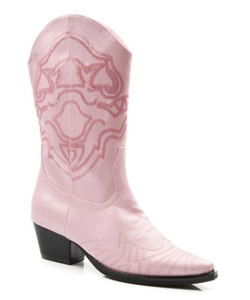 Pink Sequin Narrow-Toe Cowboy Boot