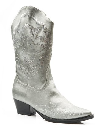 Gray Sequin Narrow-Toe Cowboy Boot