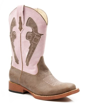 Tan & Pink Pistol Cowboy Boot - Kids