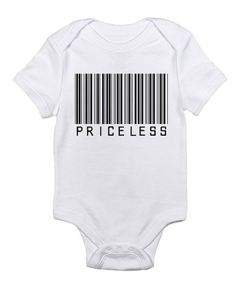White 'Priceless' Barcode Bodysuit - Infant