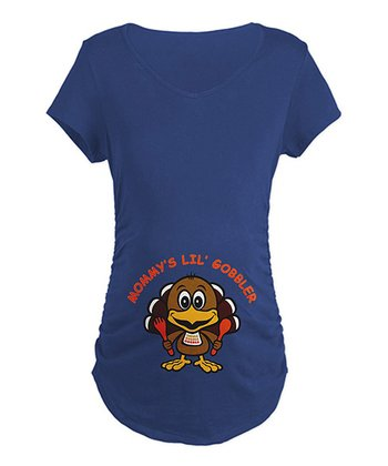 Navy 'Mommy's Lil' Gobbler' Maternity Tee - Women
