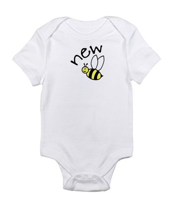 Cloud White 'New' Bee Bodysuit - Infant