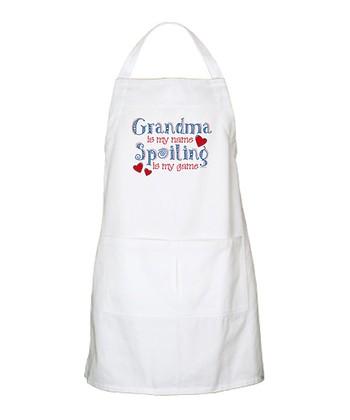 White Spoiling Grandma BBQ Apron