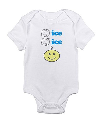 Cloud White 'Ice Ice' Baby Smiley Face Bodysuit - Infant